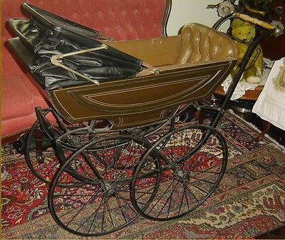Antique Edwardian French Pram Carriage Made by La Sociable of Paris Circa 1900.