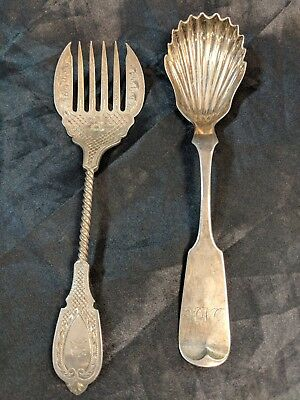 2 Antique Silver Sugar Spoon & Dessert Fork Lot W Galf & Son And R&w Wilson