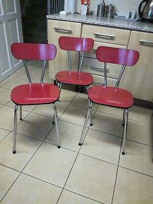 Vintage Retro Kitchen Formica And Chrome Chairs