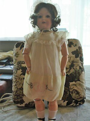 Antique German bisque head doll Bergmann1916 comp body, dressed 23 in Reduced