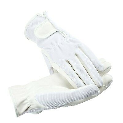 (Medium, White) - HorZe Multi-Stretch Riding Gloves. Shipping is Free