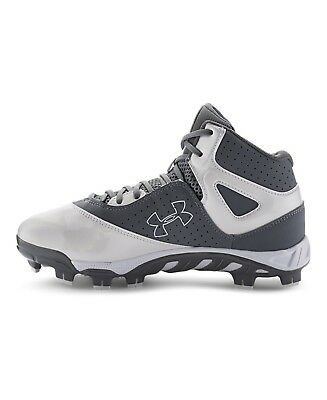 mens under armour spine heater mid tpu baseball cleats size 9.5 white grey
