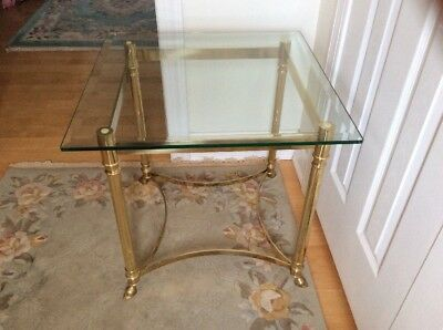 Vintage Labarge Brass Hoof Foot Hollywood Regency Glass Lamp End Table