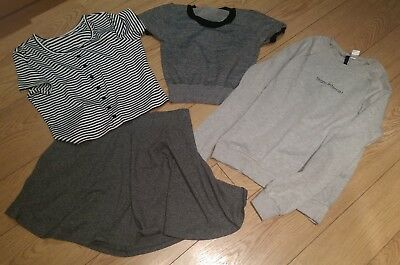 H & M and Romwe Ladies Tops & Skirt - 4 items Bundle - Grey & Striped Size Small