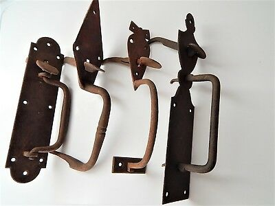 Lot of 4 Antique French Wrought Iron Lock Door ,Handle ,Slide Bolt Latch, 19th