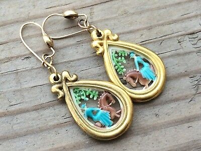 Antique Vintage Art Deco 9ct Yellow Gold French Enamel Earrings