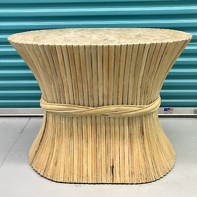 VINTAGE McGUIRE STYLE RATTAN WHEAT SHEAF DINING ROOM TABLE BASE - NO GLASS TOP
