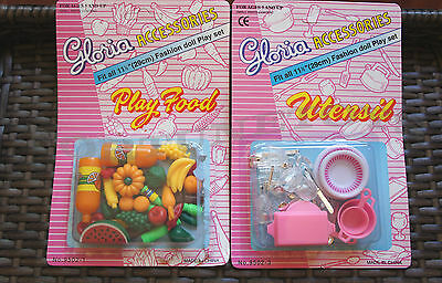 GLORIA DOLL HOUSE FURNITURE Vegetable Food SET+Utensil Set For BARBIE