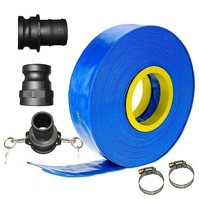 "30m x 3"" 25mm ID Outlet Layflat Hose Kit Camlock Clamps Water Transfer Pump"