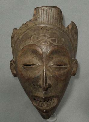 Authentic Antique 19th Century African Tribal Wood Mask Chokwe Angola