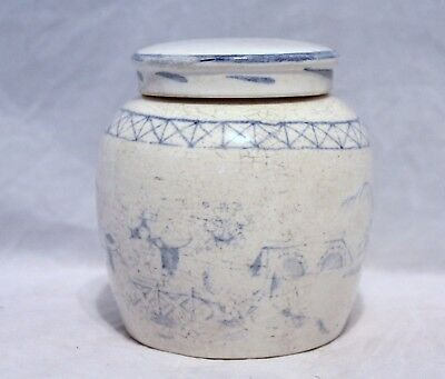 Antique Chinese Blue & White Pottery Ginger/Spice Jar