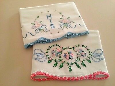 """Two """"Old Fashioned"""" Vintage Pillowcases  Each w/ Hand- Sewn """"Pastel Flowers"""""""