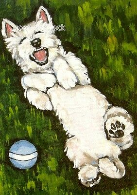 "West Highland Terrier ACEO WESTIE PRINT Painting ""Hahaha!"" Dog RANDALL"