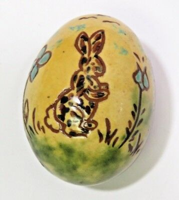 Lester Breininger Pottery Egg Dated 2001 Redware Bunny Rabbit Folk Art Easter