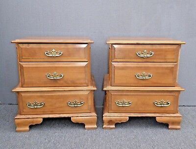 Pair of Vintage Merideth French Country Style Maple Three Drawer Nightstands