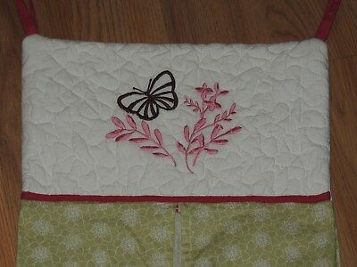 Nojo Alexis Garden Diaper Stacker Butterfly Green Pink Brown Quilted