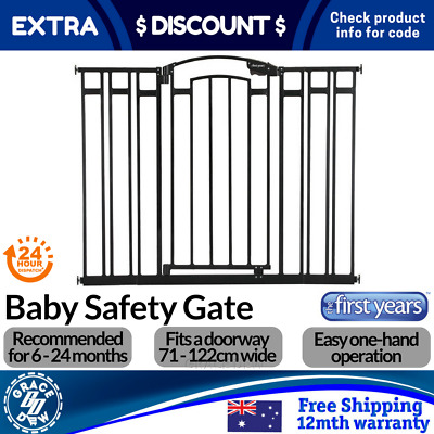 Tall Baby Gate Wide Extension Stair Safety Pet Security Kids Child Gate BLK WHT