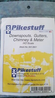 Pikestuff  3001 Downpipes Gutters Chimney etc - HO model Trains - Made in USA