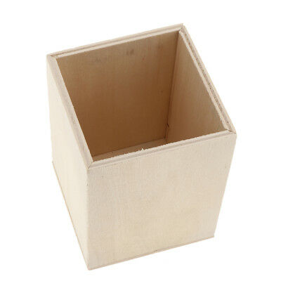 Square Design Unfinished Wood Pen Container Brush Pot Storage Box Stationery
