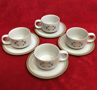 8 PC Stonehenge Midwinter Wedgwood England 4 - Tea Cups & 4 - Saucers EXCELLENT!