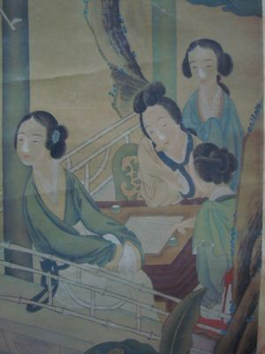 Very Large Old Chinese Scroll Hand Painting Beautiful Women Signed GaiQi