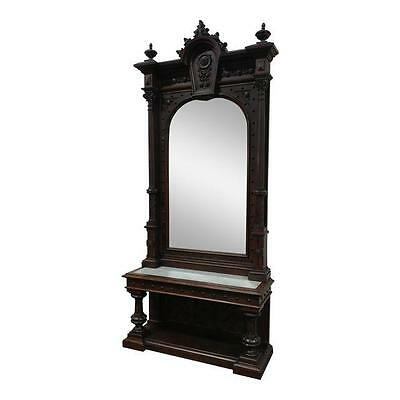 19th century Monumental Highly Carved Walnut Mirror w/Marble top console -c1850s