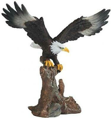 American Patriotic Bald Eagle On Brown Tree Branch Figurine Wings spread Statue