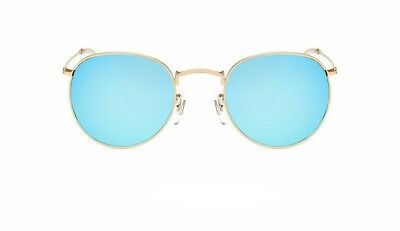 Women Small Size Round Shape Green Color Metal Material Frame Mirror Sunglass
