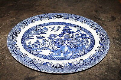 "Churchill Blue Willow Pattern Oval Serving Platter 12"" long made in England"