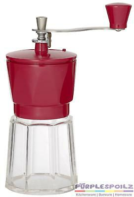 NEW LEAF AND BEAN MANUAL COFFEE GRINDER RED Beans Hand Operated Mill Grind