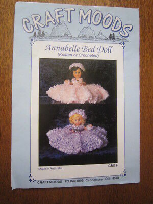 Annabelle Bed Doll Cushion  Knitted Or Crocheted 50Cms Wide X 25Cms High.