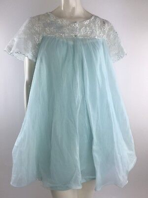 Vintage Radcliffe Blue L Nylon Nightgown Peignoir Smocked Lace Bridal Robe Set