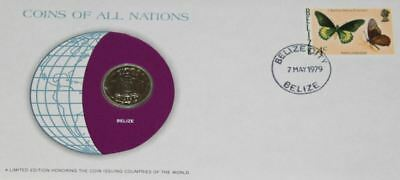 Belize 25 Cents 1979 FDC UNC Coins Of All Nations UNCIRCULATED STAMP COVER