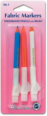 Hemline H294.C Wipe Off/Wash Out Dressmaker's Fabric Marker Pencils & Brush 3 Pk