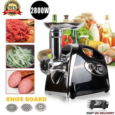 2800W Kitchen Steel Electric Meat Mincer Grinder Sausage Maker Filler Machine UK
