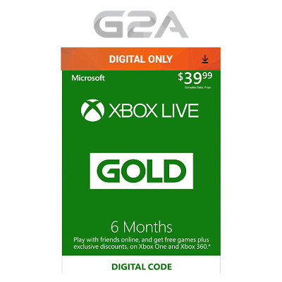 Xbox Live Gold 6 Monate Midgliedschaft Card - MS Xbox One/360 6 Month Code Key
