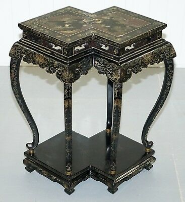 Hand Painted 19Th Century Chinese Chinoiserie Lacquered Jardiniere Plant Stand