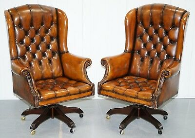 1 Of 2 Of Chesterfield Captains Wingback Office Chairs Hand Dyed Brown Leather