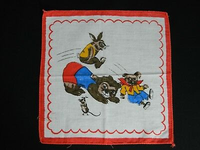 VINTAGE 1980's CHILD's HANDKERCHIEF/ HANKY  - Animals