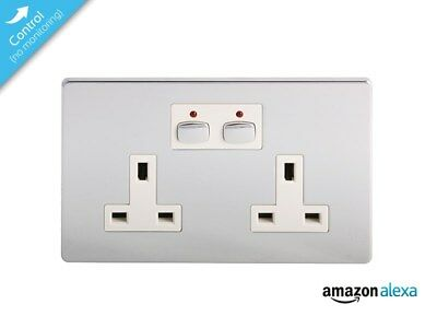 Energenie MiHome Smart Double Wall Socket (Chrome Plated)