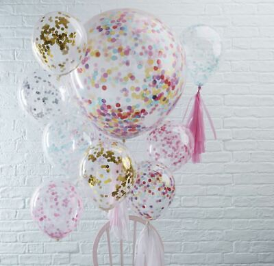 "CONFETTI FILLED BALLOONS 12"" / 36"" Large Helium Quality Party Wedding Decoration"