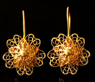 Anatolian Filligree 22 Carat Solid Gold Earrings Hand Crafted