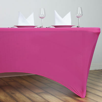 Fuchsia 6 ft RECTANGLE SPANDEX STRETCH TABLE COVER Fitted Tablecloth Wedding