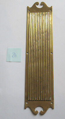 Heavy solid brass Victorian reeded fingerplate-12 1/4 x 2 3/4 ins