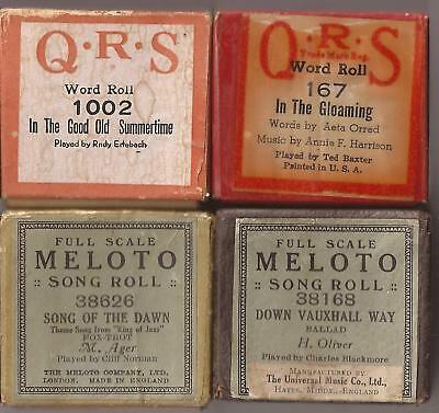 Pianola Rolls x 4 - QRS In the Good Old Summertime + In the Gloaming + WORDS +..