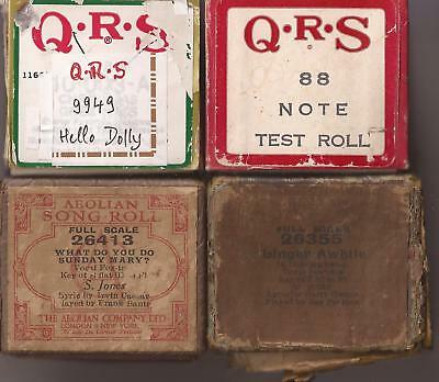 Pianola Rolls x4 QRS Tester Hello Dolly Film [Louis Armstrong] + two song rolls