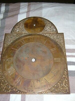 "Longcase Georgian Grandfather clock Brass 11"" arch dial - spares or repair"