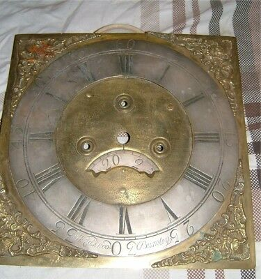 Longcase Georgian Grandfather clock Brass & Silvered dial - spares or repair