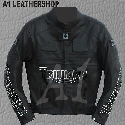Mens Triumph Candian Flag Full Black Motorbike Cowhide Leather Jacket All Sizes