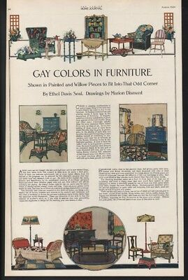 1920 Gay Colors Furniture Home Decor Bedroom  Floral Table Wicker 20379